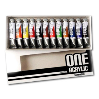 Набор художественных акриловых красок ONE MAIMERI для рисования и декора, 12 цветов по 20 мл