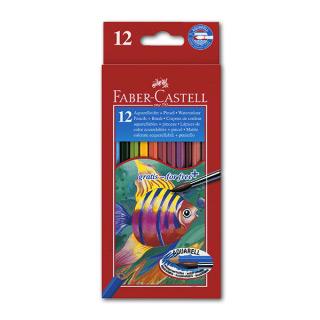 Цветные акварельные карандаши FABER-CASTELL Colour Pencils, 12 цветов, с кисточкой