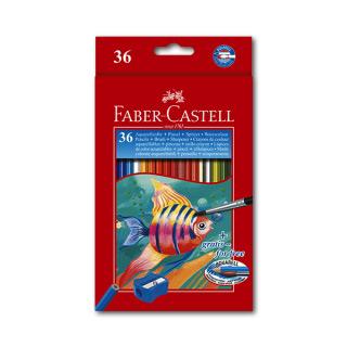 Цветные акварельные карандаши FABER-CASTELL Colour Pencils, 36 цветов, с кисточкой
