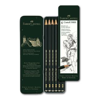 Простые карандаши FABER-CASTELL 9000 набор 6 шт. твердость HB, B, 2B, 4B, 6B, 8B