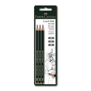 Чернографитные карандаши FABER-CASTELL 9000 3 шт. набор, твердость 4B, 6B, 8B