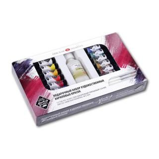 Подарочный набор «Мастер-Класс» НЕВСКАЯ ПАЛИТРА: акриловые краски 12 цветов, лак, кисти