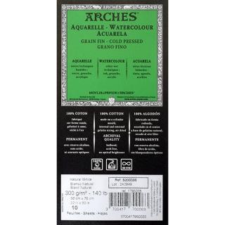 Бумага для акварели Arches CANSON, 300 г/м2, среднезернистая Fin, 56х76 см