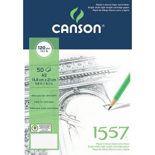 Альбом-склейка для графики CANSON, 1557, 120 г/м2, мелкозернистая, формат А5, 50 листов