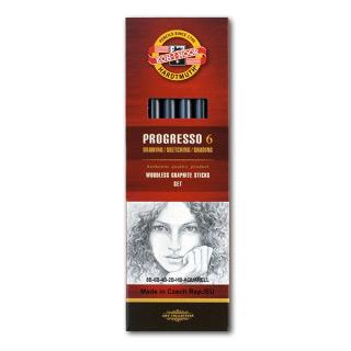Набор чернографитных карандашей KOH-I-NOOR PROGRESSO, от 8B до HB, 5шт+1, в лаке без дерева