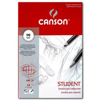 """Альбом для набросков CANSON """"Student"""", мелкозернистая бумага 90 г/м2, А4, 100 листов"""