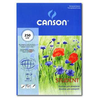 """Альбом для акварели CANSON """"Student"""", среднезернистая бумага 250 г/м2, А5, 10 л"""