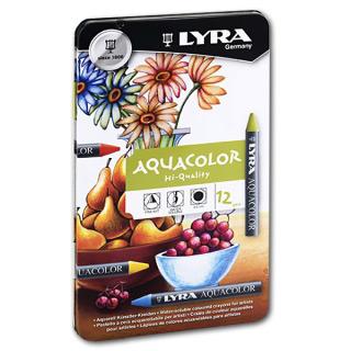 Набор акварельных восковых мелков Aquacolor LYRA в металлическом пенале, 12 цветов