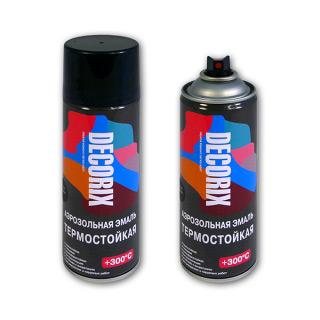 Аэрозольная краска термостойкая DECORIX +300°С (черный и алюминий)