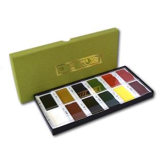 Традиционный японский набор акварельных красок ZIG KURETAKE Gansai Tambi 12 colors set, 12 цв.