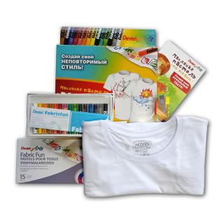 """Набор """"Рисунок на футболке"""" с мелками по ткани и белой футболкой Fabric Fun Pentel"""