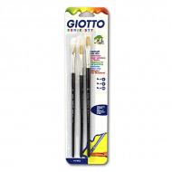 Набор плоских кистей из натуральной щетины № 6, 8, 10 GIOTTO Pennelli Brushes FILA, 3 шт.