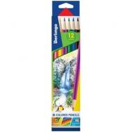"""Карандаши цветные Berlingo """"Водопад"""", с двухцветным грифелем, 06шт., 12цв., картон., европодвес"""