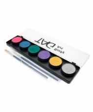 Набор профессиональных красок для аквагрима TAG, перламутровые цвета 6x10г, 2 кисти