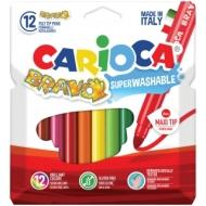 """Фломастеры Carioca """"Bravo"""", 12цв., утолщенные, смываемые, картон, европодвес"""
