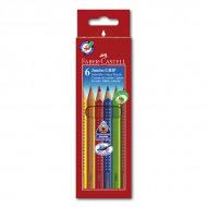 Цветные акварельные карандаши FABER-CASTELL Jumbo Grip, 6 цветов, грифель 3,8 мм