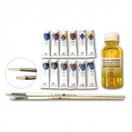 Подарочный набор «Мастер-Класс» НЕВСКАЯ ПАЛИТРА масляные краски 12 цв., масло, кисти