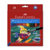 Цветные акварельные карандаши FABER-CASTELL Colour Pencils, 24 цвета, с кисточкой