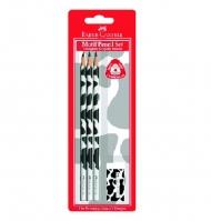 Чернографитные карандаши Faber-Castell Triangular, набор: 3 карандаша (твердость B) и ластик