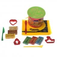 Набор для лепки JOVI в пластиковом ведре, 14 предметов: пластилин, формочки, стеки, клеенка