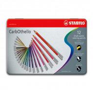 Цветная пастель CarbOthello STABILO для рисования, в карандашах, 12 цветов в наборе