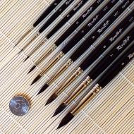 Кисти круглые из волоса белки ROUBLOFF, длинная ручка № 1