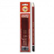 Набор простых карандашей Koh-I-Noor KIN «Forum», 5 шт, твердость НВ, B, H, 2H, 2B