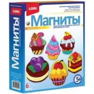 """Набор для изготовления магнитов из гипса Lori """"Пирожные"""", картонная коробка"""