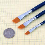 Плоские скошенные кисти TAG разной ширины(№) для аквагрима, рисования, макияжа (синтетика)
