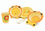 Набор детской бамбуковой посуды Львенок New