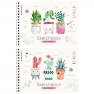 """Скетчбук-блокнот для акварели 20л. А5 на гребне ArtSpace """"Cute plants"""", 180г/м2"""