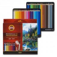 Набор цветных акварельных карандашей KOH-I-NOOR Mondeluz ART-SET, 48 цветов+кисти