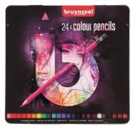 Набор цветных карандашей Bruynzeel Back to School Light 24 штуки в металлической упаковке