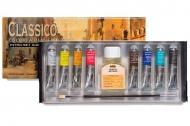 Набор масляных красок Maimeri CLASSICO 8 цветов по 20 мл, кисть, льняное масло