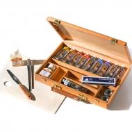 Художественный набор масляных красок Maimeri Classico 10 цв.*60 мл, разбавитель, кисти, палитра, 17 предм.
