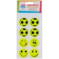 """Наклейки объемные светоотражающие ArtSpace """"Веселый футбол"""", 9*18см, пакет, европодвес"""