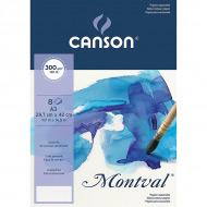 Папка с бумагой для акварели Montval CANSON, 300 г/м2, среднезернистая Fin, 29.7х42 см
