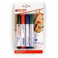 Набор перманентных маркеров для натуральных и синтетических тканей EDDING col.999, 4 цвета