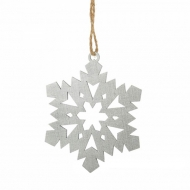 "Елочная игрушка ""Снежинка"", дерево, цвет серебро, диаметр 9 см"