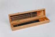 Набор кистей Roubloff №11 рыжая синтетика круглые, плоские, овальная 8 штук в деревянной шкатулке