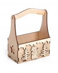Заготовка  Timberlicious деревянная для декорирования Корзинка декоративная Зимняя сказка 15х8х20см