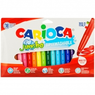 """Фломастеры Carioca """"Jumbo"""", 18 цветов, утолщенные, смываемые"""