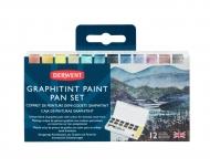 Набор водорастворимых кювет Graphitint на основе графита 12 цветов + кисть в пластиковой упаковке Derwent