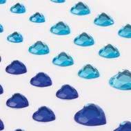 """Стразы самоклеящиеся """"Сердце"""" Остров Сокровищ, 6-15 мм, 80 шт., синие/голубые, на подложке"""
