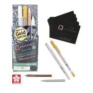 Набор Sakura Zentangle Gelly roll, 2 гелевые ручки, карандаш, растушевка, 9 предм.
