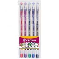 """Набор гелевых ручек Crown """"Hi-Jell Color"""" 5шт., 5цв., 0,5мм, ПВХ уп., европодвес"""