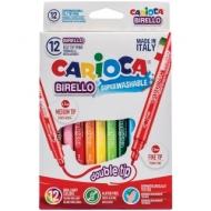 """Фломастеры двусторонние Carioca """"Birello"""", 12цв., 12шт., смываемые, картон, европодвес"""