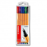 Набор капиллярных ручек Point 88 STABILO fineliner для письма, рисования и черчения, 6 цветов