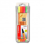 Набор капиллярных ручек Point 88 STABILO для письма, рисования и черчения, 5 неоновых цв.