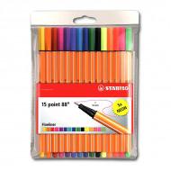 Набор капиллярных ручек Point 88 STABILO для письма, рисования и черчения, 15 цветов